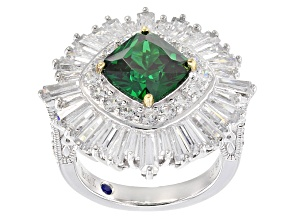 Pre-Owned Green And White Cubic Zirconia Platineve Ring 8.57ctw