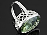 Pre-Owned Green Prasiolite Sterling Silver Ring 14.00ctw
