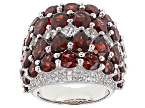 Pre-Owned Garnet, White Zircon And White Topaz Rhodium Over Sterling Silver Ring 11.50ctw