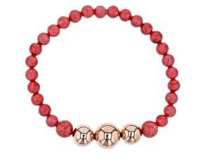 Pre-Owned Pink Coral Copper Bracelet