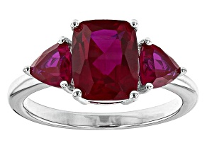 Pre-Owned Red lab created ruby rhodium over silver ring 2.53ctw
