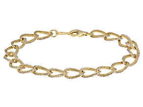Pre-Owned 10k Yellow Gold With Rhodium Over 10k Yellow Gold Curb Link Bracelet 725 inch