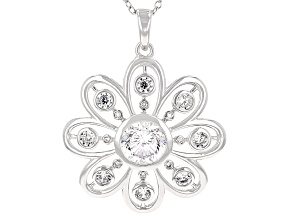 Pre-Owned Cubic Zirconia Silver Pendant With Chain 3.06ctw (2.60ctw DEW)
