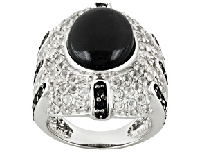 Pre-Owned Black Spinel And White Topaz Sterling Silver Ring 6.03ctw