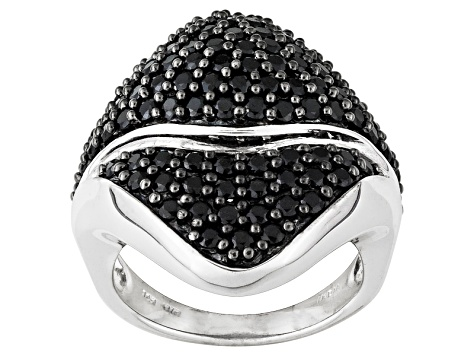 Pre-Owned Black Spinel Sterling Silver Ring 2.83ctw