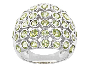 Pre-Owned Manchurian Peridot Sterling Silver Dome Ring 3.49ctw