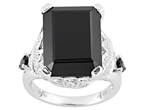 Pre-Owned Black Spinel Sterling Silver Ring 14.39ctw.