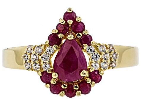 Pre-Owned Red ruby 18k yellow gold over silver ring 1.33ctw