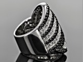 Pre-Owned Black Spinel And White Topaz Sterling Silver Ring 4.00ctw.