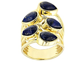 Pre-Owned Blue Lapis Lazuli 18k Yellow Gold Over Bronze 5-Stone Ring
