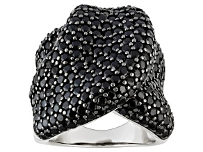 Pre-Owned Black Spinel Sterling Silver Ring 6.70ctw