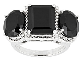 Pre-Owned Black Spinel Sterling Silver Ring 13.00ctw