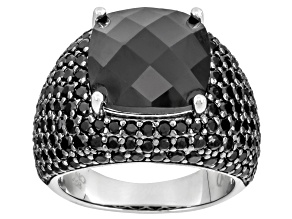 Pre-Owned Black Spinel Sterling Silver Ring 11.91ctw