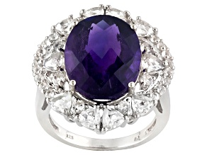 Pre-Owned Purple African Amethyst Sterling Silver Ring 9.86ctw