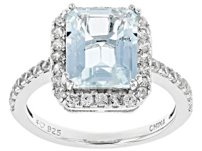 Pre-Owned Blue aquamarine rhodium over sterling silver ring 2.85ctw