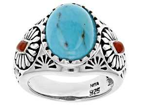 Pre-Owned Blue Turquoise And Red Coral Sterling Silver Ring