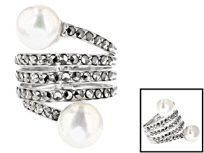 Pre-Owned White Cultured Freshwater Pearl And Marcasite Sterling Silver Bypass Ring