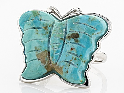 Pre-Owned Blue Turquoise Butterfly Sterling Silver Ring