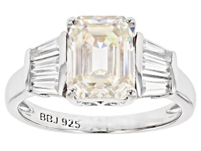 Pre-Owned Fabulite Strontium Titanate And White Zircon Rhodium Over Silver Ring 4.27ctw