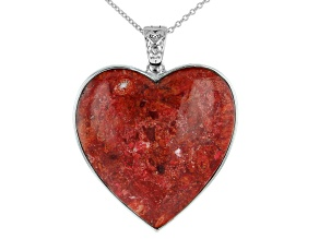 Pre-Owned Red Coral Rhodium Over Silver Heart Enhancer With Chain