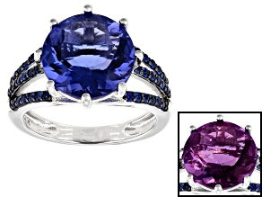 Pre-Owned Blue color change fluorite rhodium over silver ring 6.40ctw