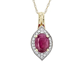 Pre-Owned Red Ruby 10k Yellow Gold Pendant With Chain 1.61ctw