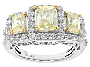 Pre-Owned Yellow And White Cubic Zirconia Silver Ring 7.00ctw (4.32ctw DEW)