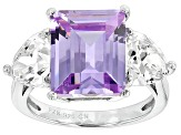 Pre-Owned Purple And White Cubic Zirconia Rhodium Over Sterling Silver Ring 12.00ctw