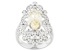 Pre-Owned Yellow And White Cubic Zirconia Silver Ring 5.14ctw (3.19ctw DEW)
