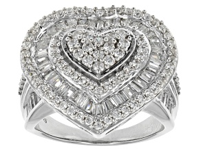 Pre-Owned Cubic Zirconia Silver Heart Ring 3.80ctw (2.31ctw DEW)
