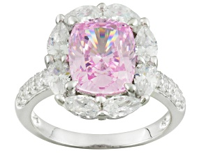 Pre-Owned Pink And White Cubic Zirconia Silver Ring 7.98ctw