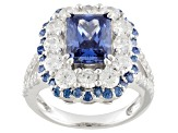 Pre-Owned Blue And White Cubic Zirconia Silver Ring 8.62ctw