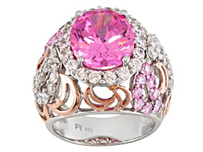 Pre-Owned Pink And White Cubic Zirconia Rhodium Over And 18k Rose Gold Over Sterling Silver Ring 13.