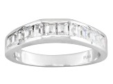 Pre-Owned Cubic Zirconia Sterling Silver Ring With Band 2.19ctw