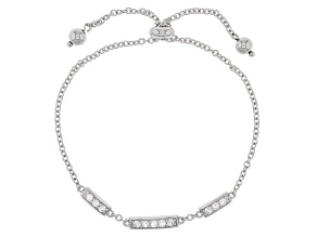 Pre-Owned White Cubic Zirconia Rhodium Over Sterling Silver Adjustable Bracelet .88ctw