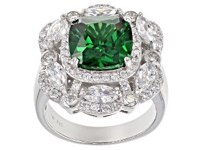 Pre-Owned Green And White Cubic Zirconia Silver Ring 9.59ctw