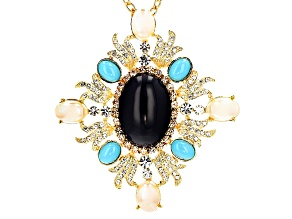 Pre-Owned White Crystal Turquoise Simulant Pearl Simulant Lapis Simulant Gold Tone Pin/Pendant With