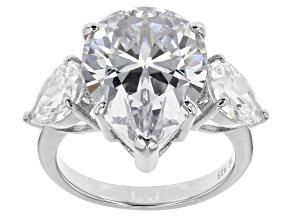 Pre-Owned White Cubic Zirconia Rhodium Over Sterling Silver Ring 19.81ctw