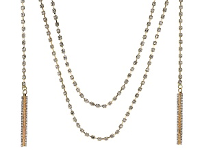 Pre-Owned White Crystal Gold Tone Convertible Necklace