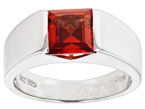 Pre-Owned Orange Lab Created Padparadscha Sapphire Silver Mens Ring. 3.45ct
