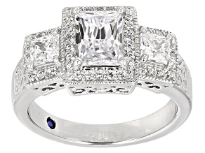 Pre-Owned Womens 3-Stone Ring White Cubic Zirconia 4ctw Rectangle Cut Platineve