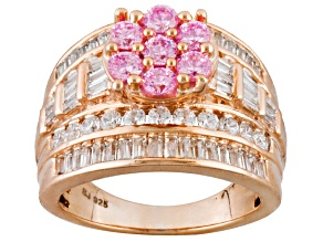 Pre-Owned Pink And White Cubic Zirconia 18k Rose Gold Over Silver Ring 5.07ctw (3.86ctw DEW)