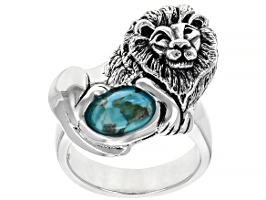 Pre-Owned Blue Turquoise Rhodium Over Sterling Silver Lion Ring