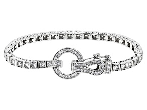 Pre-Owned White Cubic Zirconia Rhodium Over Sterling Silver Bracelet 6.40ctw