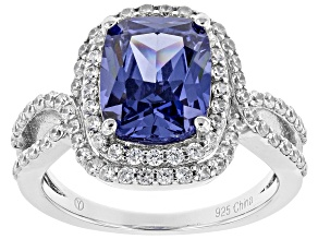 Pre-Owned Blue & White Cubic Zirconia Rhodium Over Sterling Silver Center Design Ring 4.72ctw