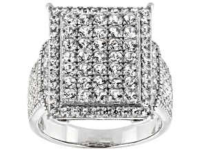 Pre-Owned White Zircon Rhodium Over Silver Ring 2.75ctw