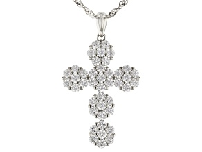 Pre-Owned White Cubic Zirconia Rhodium Over Sterling Silver Cross Pendant With Ring 4.71ctw