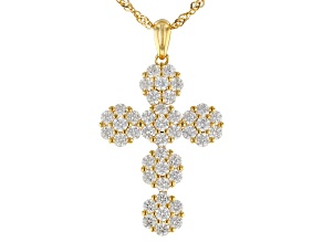 Pre-Owned White Cubic Zirconia 18k Yellow Gold Over Sterling Silver Cross Pendant with Chain 4.71ctw
