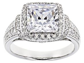 Pre-Owned White Cubic Zirconia Rhodium Over Sterling Silver Center Design Ring 5.48ctw