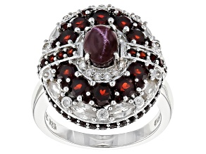 Pre-Owned Red Star Garnet Sterling Silver Ring 4.80ctw